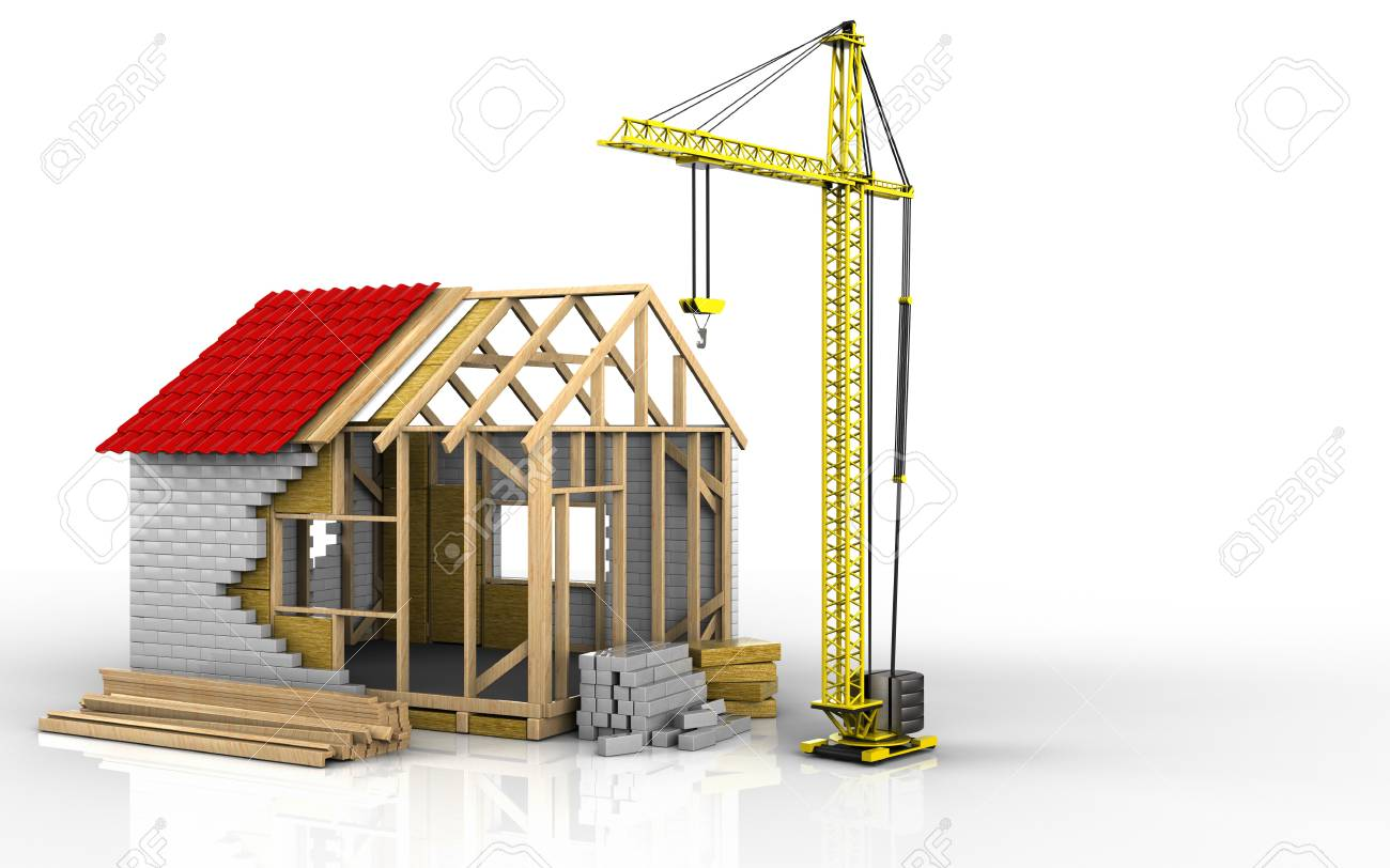 3d illustration of frame house over white background - 85933092