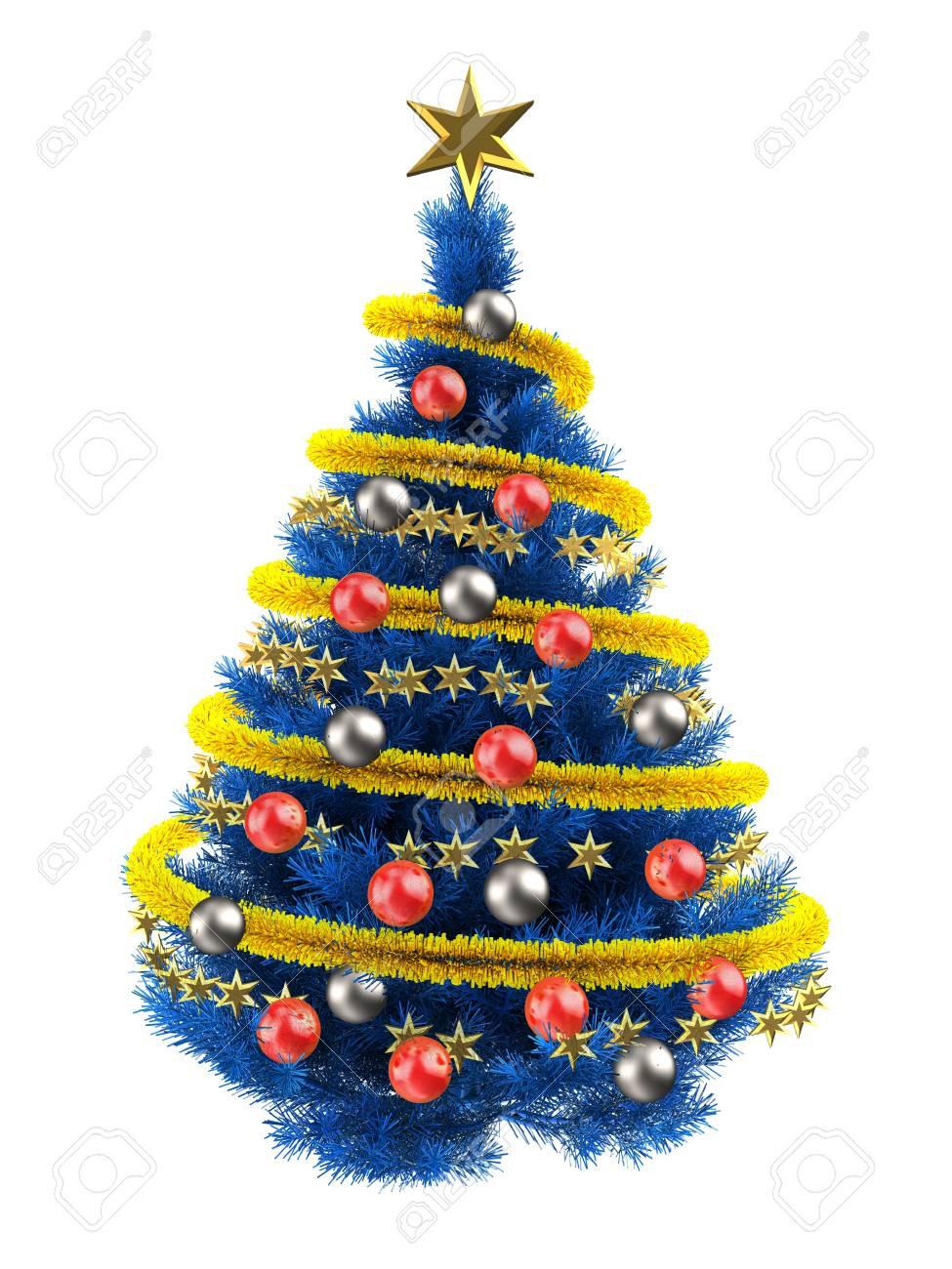 Albero Di Natale Bianco.3d Illustrazione Di Albero Di Natale Blu Su Bianco Con Palle Rosse E Frippery