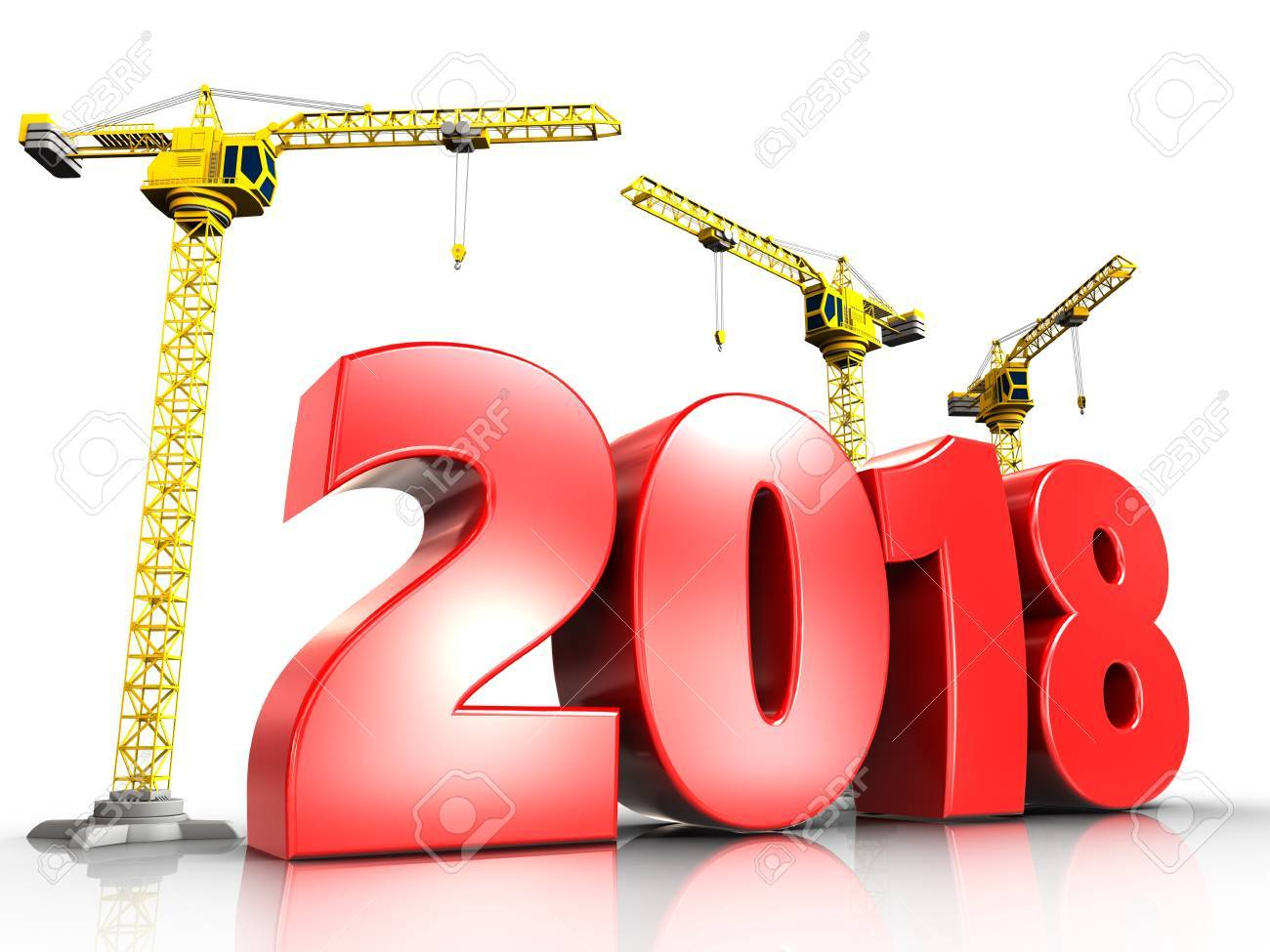 3d illustration of cranes building red 2018 year over white background - 87532431