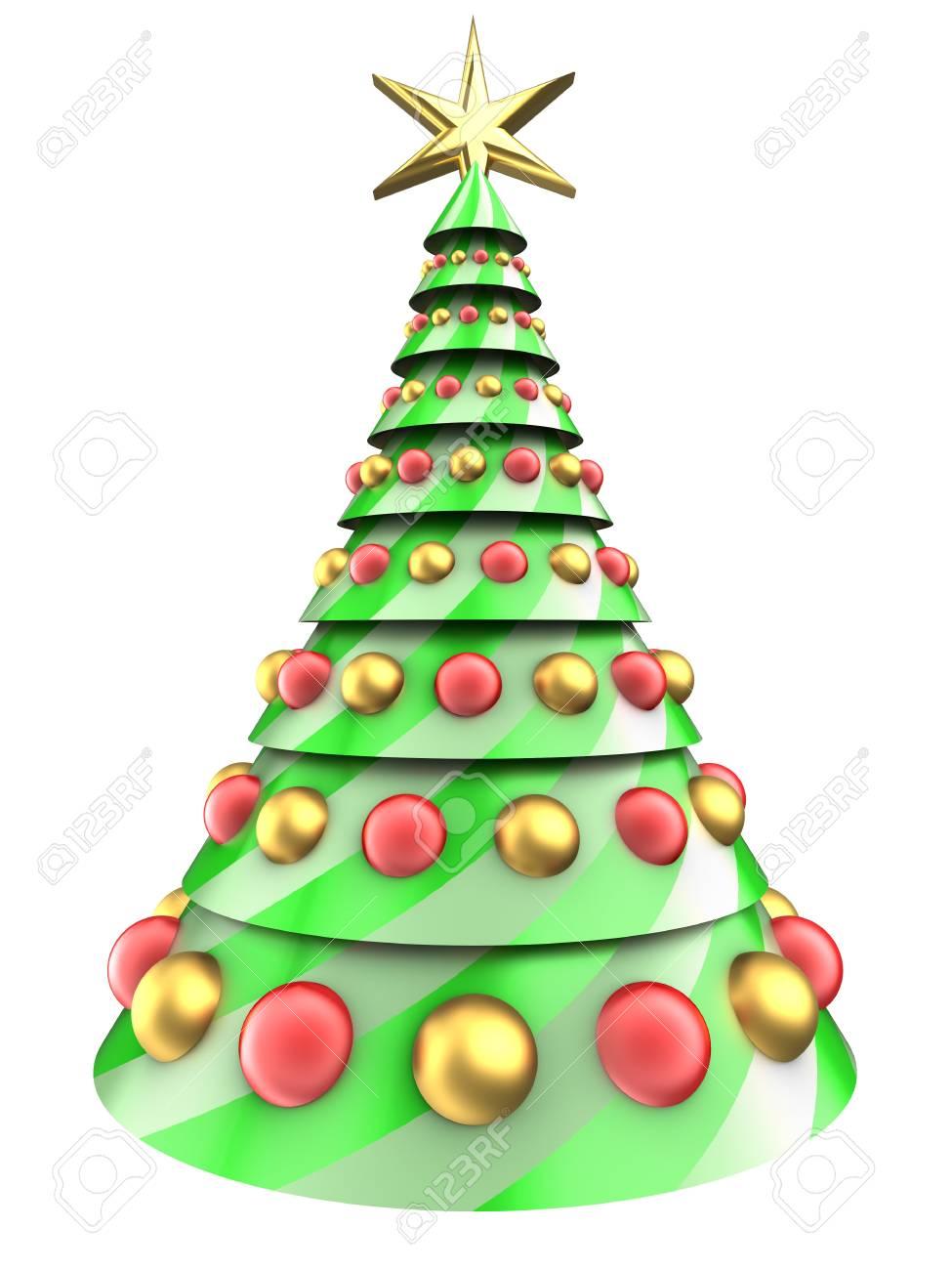Foto Dell Albero Di Natale.Illustrazione 3d Dell Albero Di Natale Sopra Priorita Bassa Bianca Con Le Sfere Di Vetro