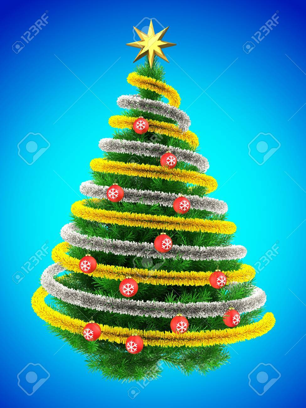 3d Illustration Of Green Christmas Tree Over Blue With Red Balls Stock Photo Picture And Royalty Free Image Image 87532968