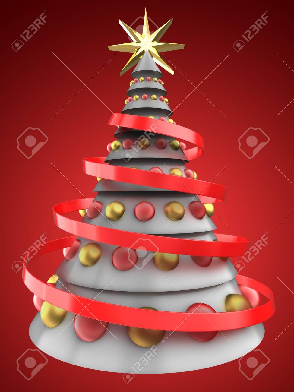 Albero Di Natale Bianco.Illustrazione 3d Dell Albero Di Natale Bianco Sopra Priorita Bassa Rossa Con Le Sfere Di Vetro