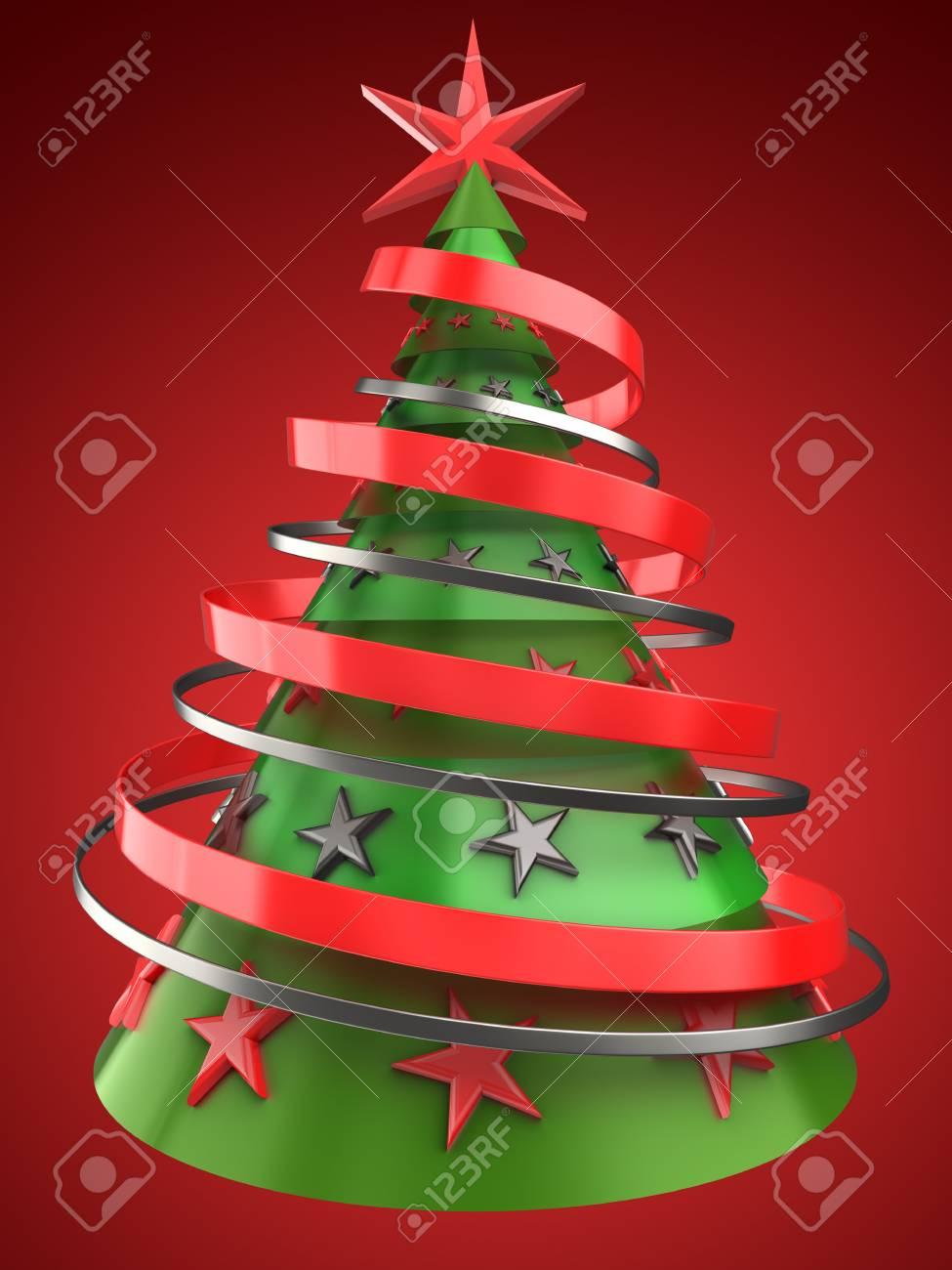 Immagini Dell Albero Di Natale.Illustrazione 3d Dell Albero Di Natale Sopra Priorita Bassa Rossa Con La Decorazione Delle Stelle