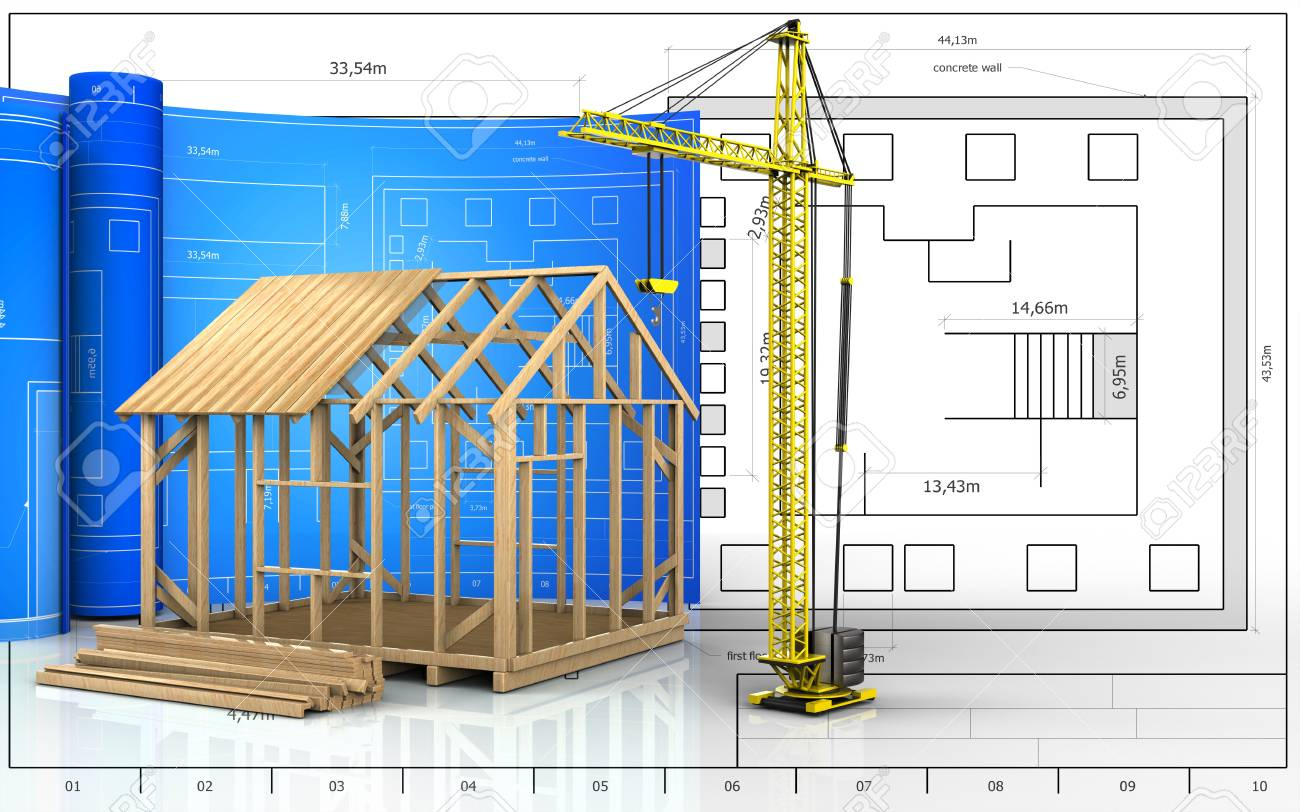 Exceptional 3d Illustration Of Frame House Construction With Drawing Roll Over Blueprint  Background Stock Illustration   87533583