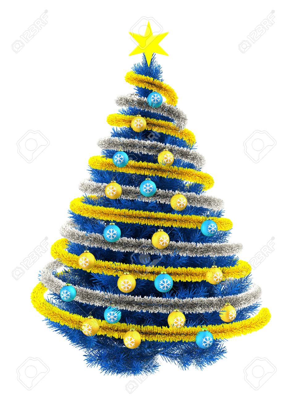 3d Illustration Of Blue Christmas Tree Over White With Yellow Stock Photo Picture And Royalty Free Image Image 87855895