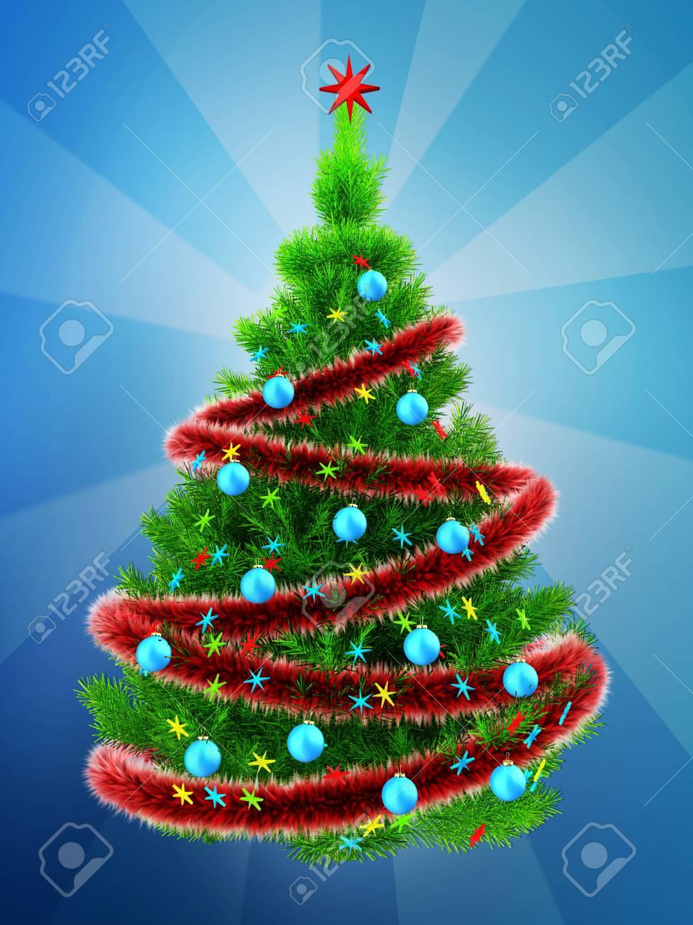 Christmas Tree Tinsel.Stock Illustration
