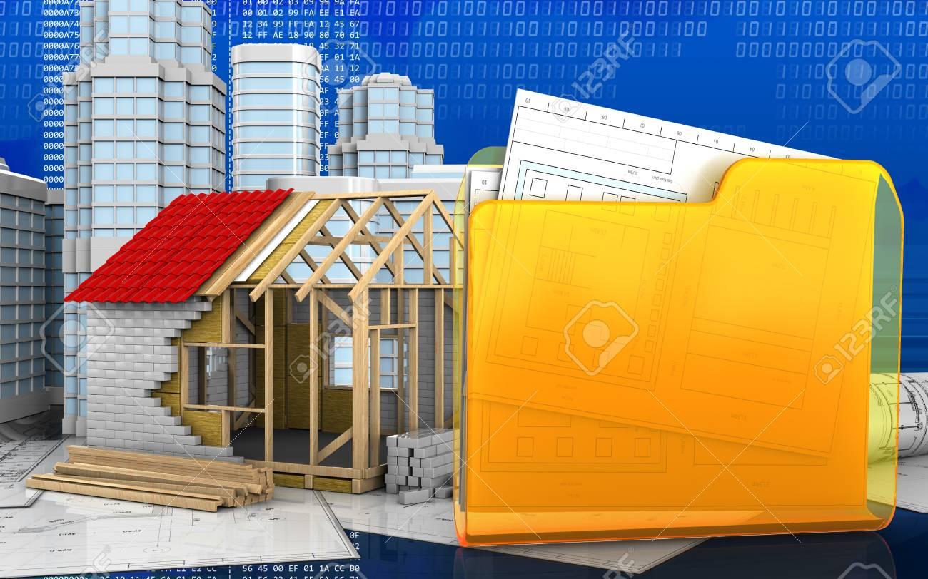 3d Illustration Of Frame House With Urban Scene Over Digital Stock