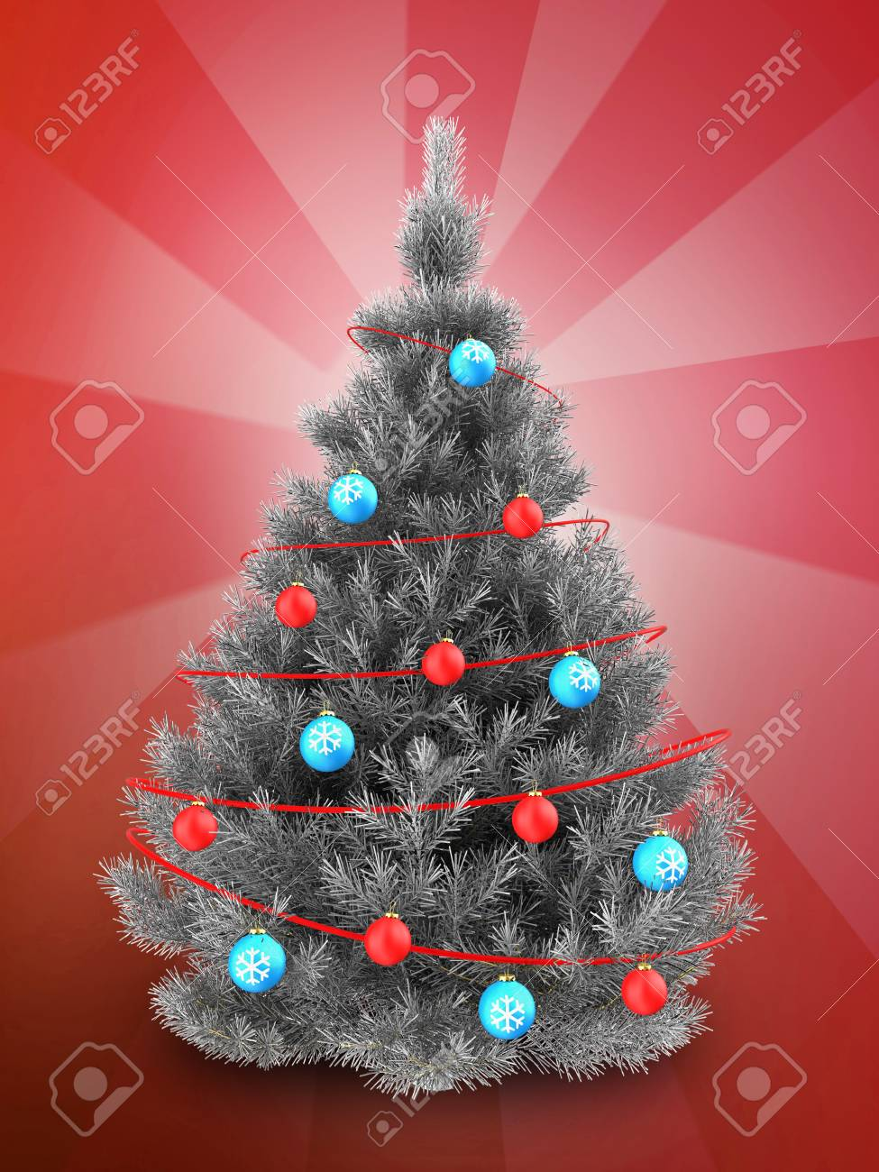 3d illustration of silver christmas tree with blue balls over red background stock illustration 88350168 - Red And Silver Christmas Tree