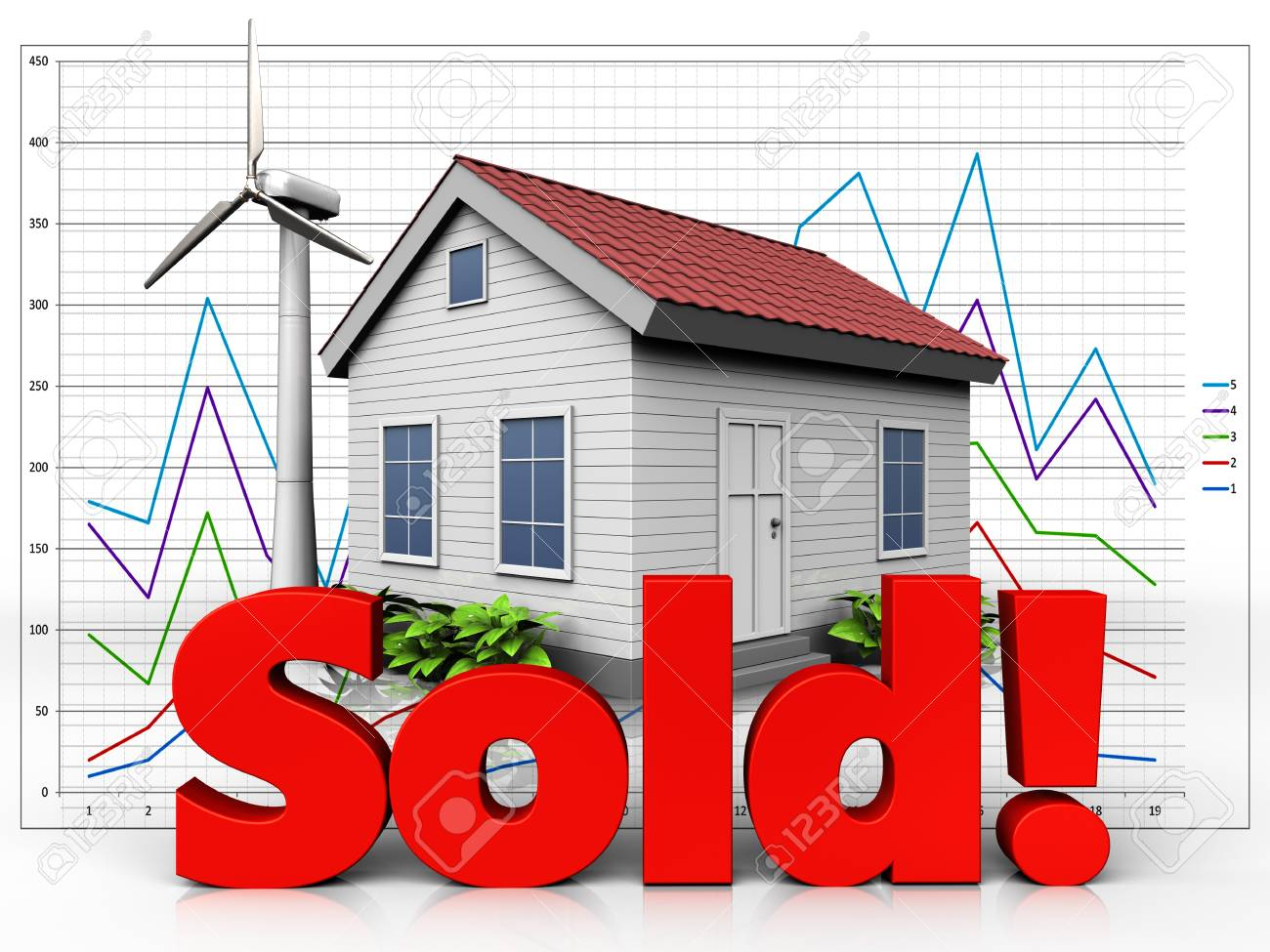 3d Illustration Of Wind Energy House With Sold Sign Over Diagram Turbines Background Stock 88603112
