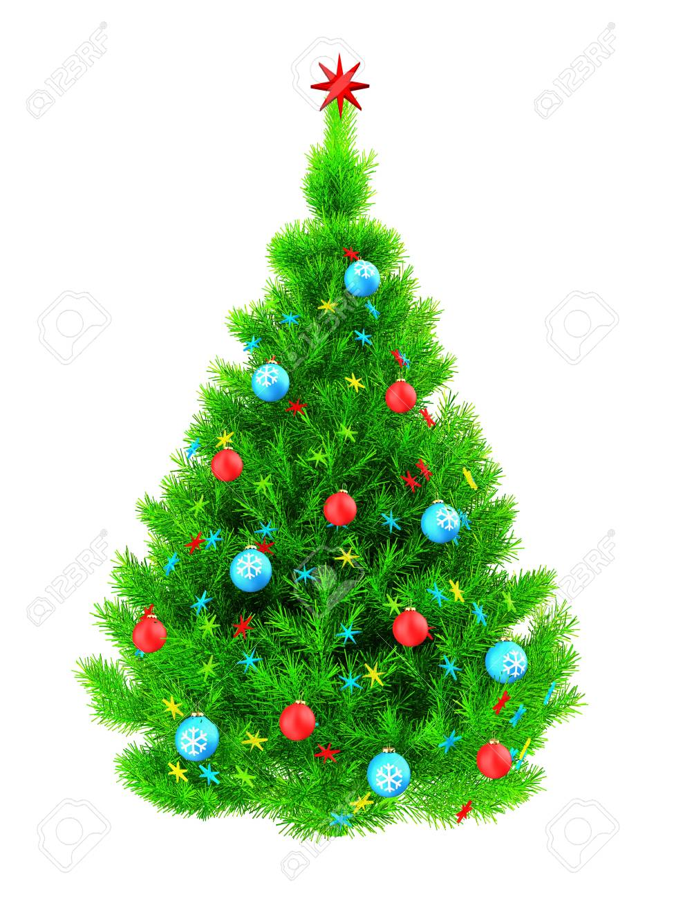 3d Illustration Of Neon Green Christmas Tree With Colorful Stars ...