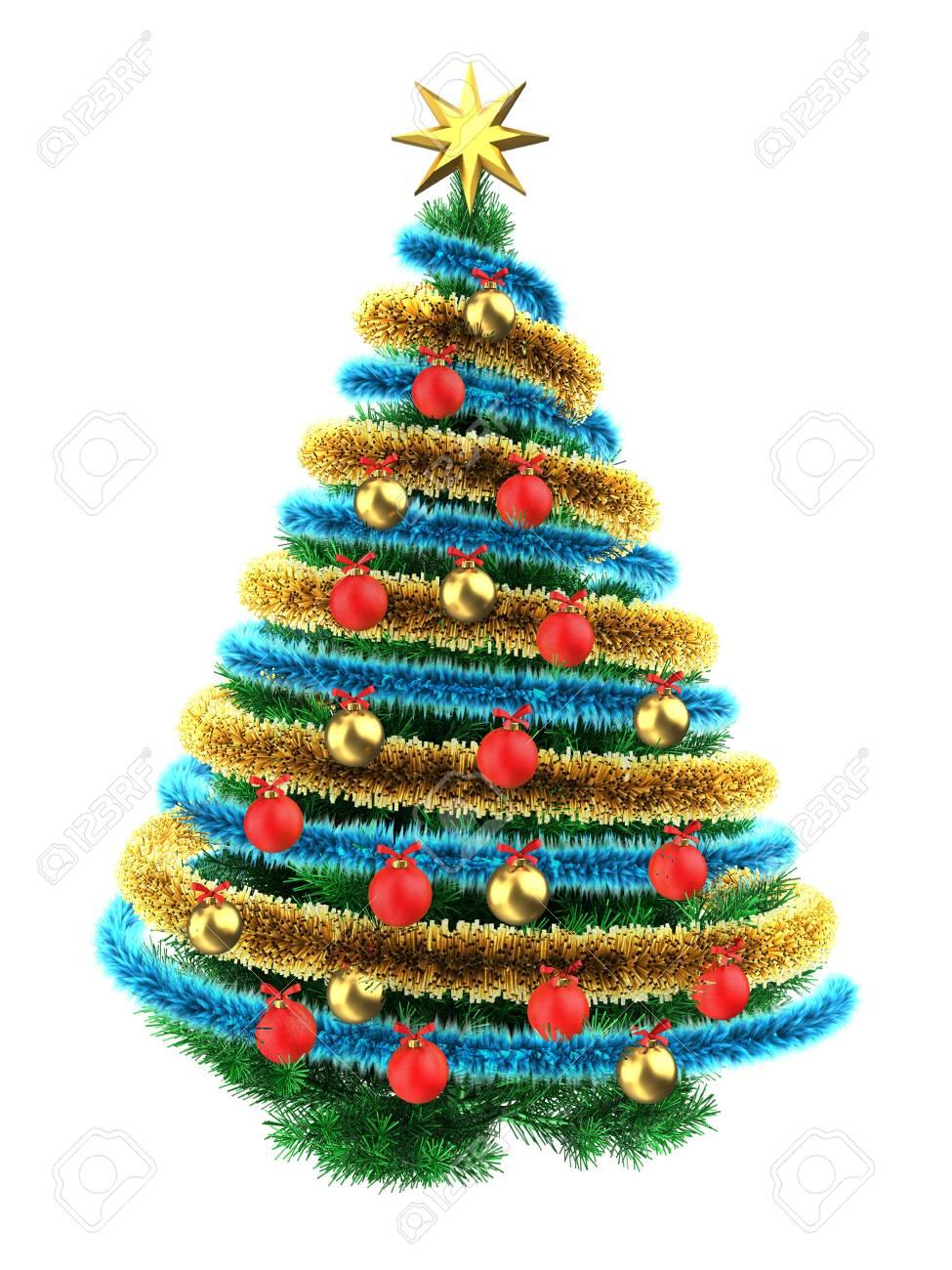 Foto Dell Albero Di Natale.Illustrazione 3d Dell Albero Di Natale Sopra Fondo Bianco Con Le Palle Di Rosso Blueand Del Lame