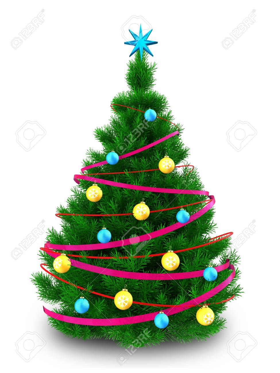 Albero Di Natale 3d.Immagini Stock Illustrazione 3d Dell Albero Di Natale Con Il Nastro Sopra Priorita Bassa Bianca Image 89084522