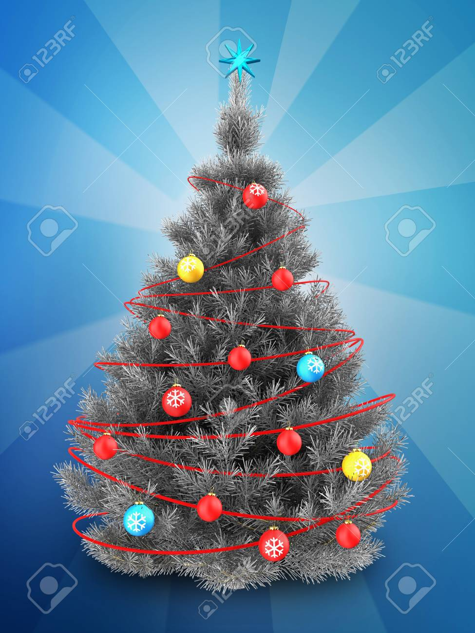 3d Illustration Of Silver Christmas Tree With Red Decorations Stock Photo Picture And Royalty Free Image Image 89085785