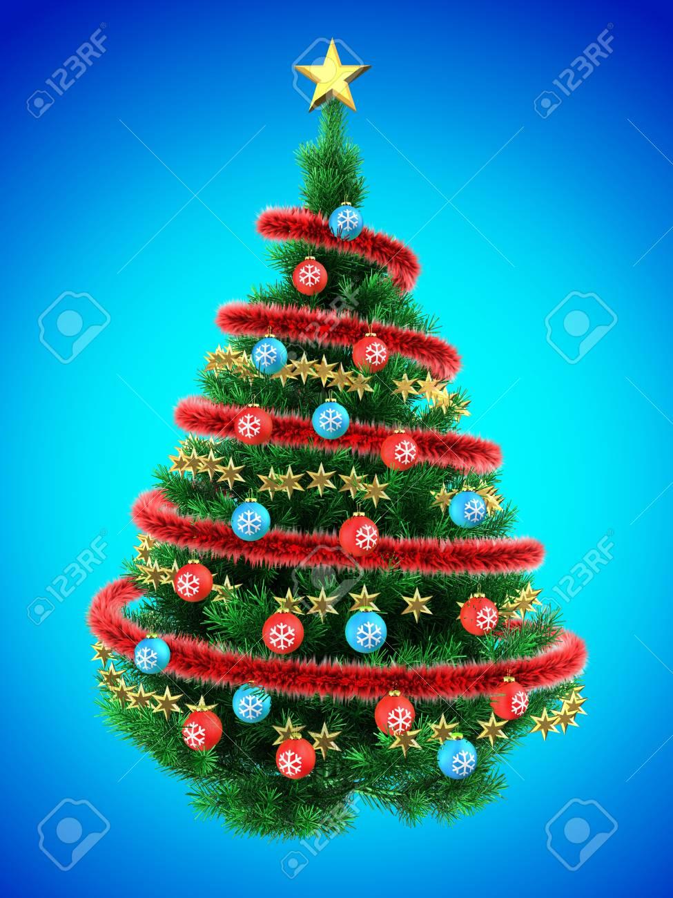 Foto Di Alberi Di Natale.Illustrazione 3d Di Albero Di Natale Su Blu Con Palle Rosse E Rosso Frippery