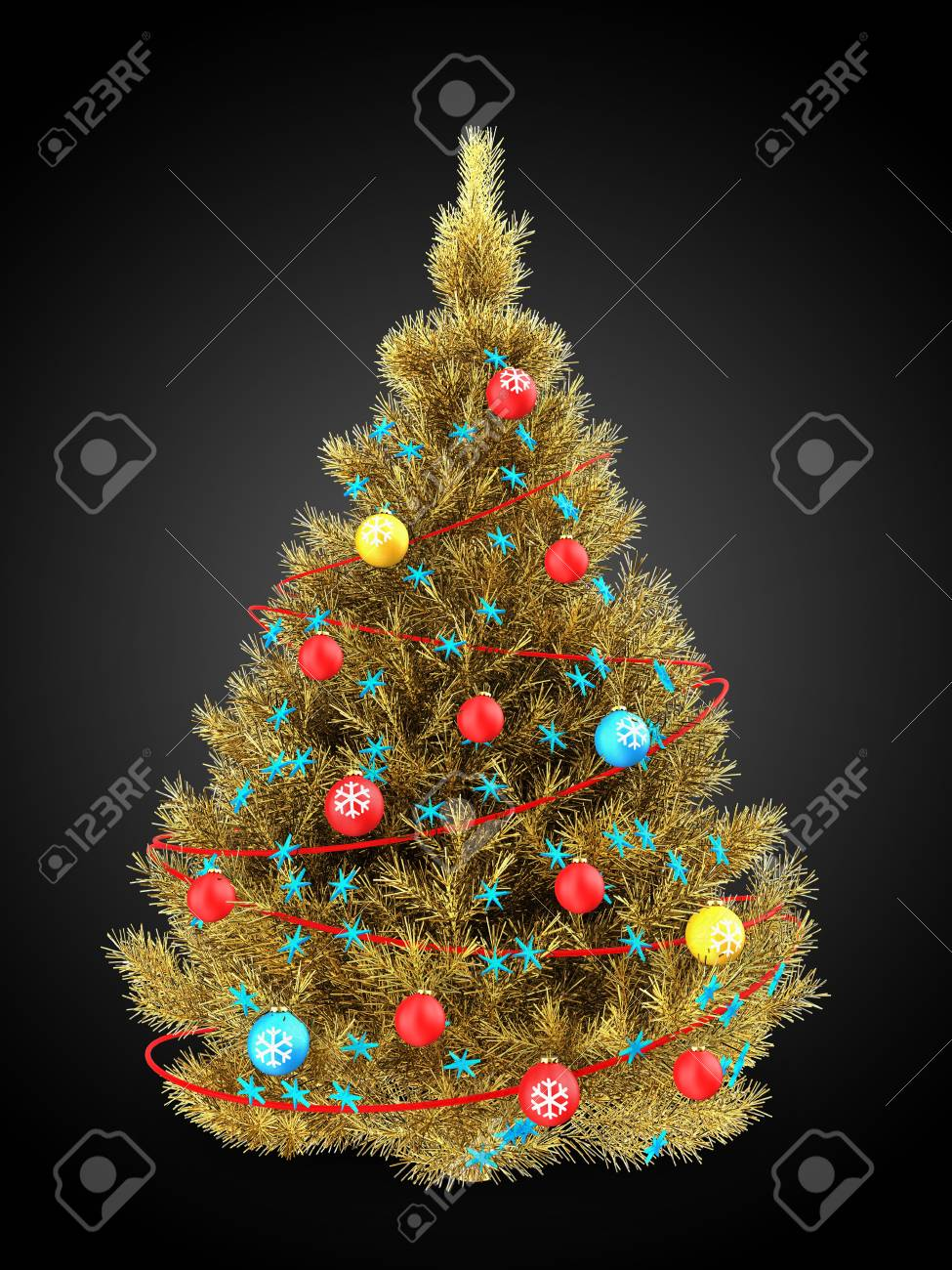 3d Illustration Of Golden Christmas Tree With Red Decorations