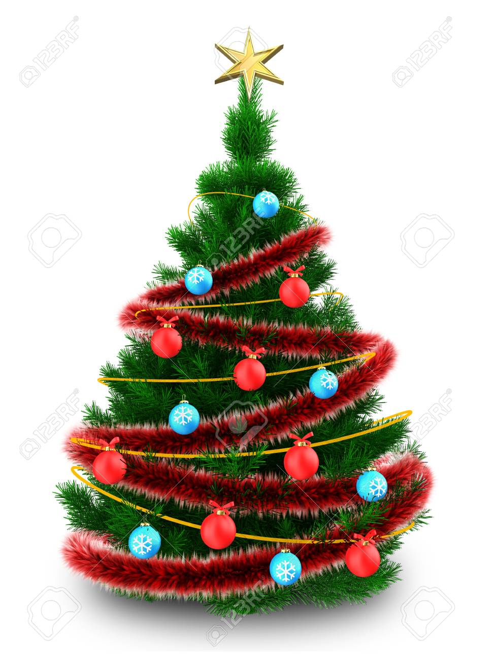 Tinsel Christmas Tree.Stock Illustration