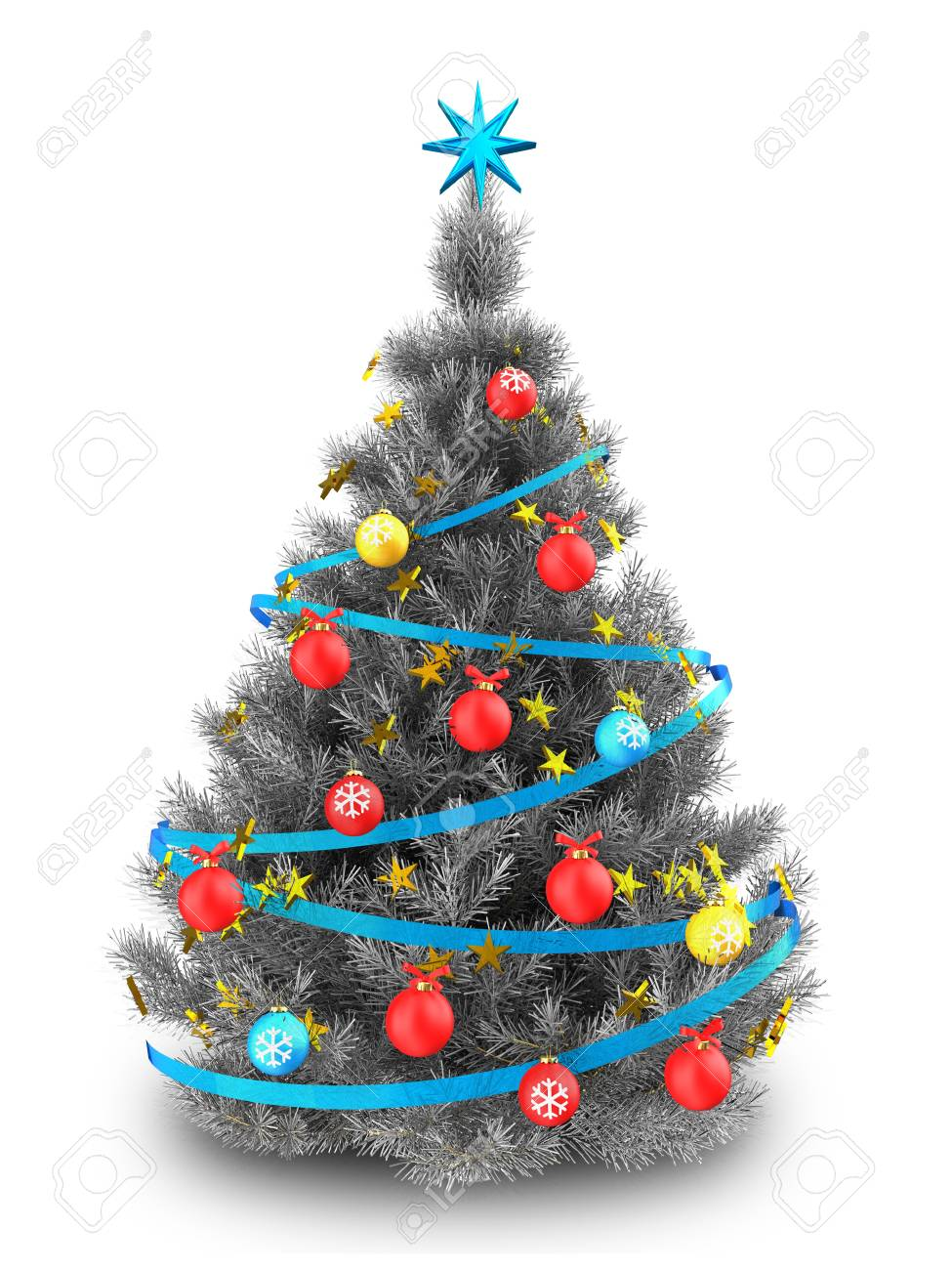 3d Illustration Of Silver Christmas Tree With Blue Ribbons Over Stock Photo Picture And Royalty Free Image Image 89307224