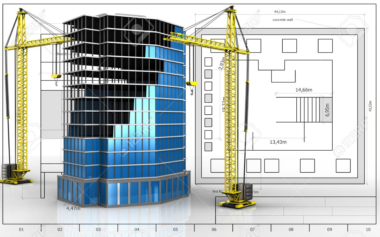 3d illustration of office building construction with crane over 3d illustration of office building construction with crane over blueprint background stock illustration 97637652 malvernweather Image collections