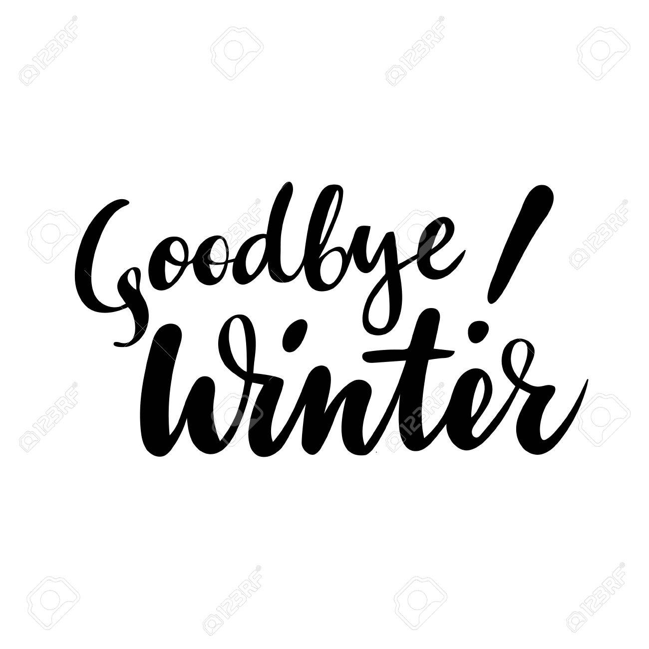 Farewell Greeting Card With Phrase Goodbye Winter Vector Isolated