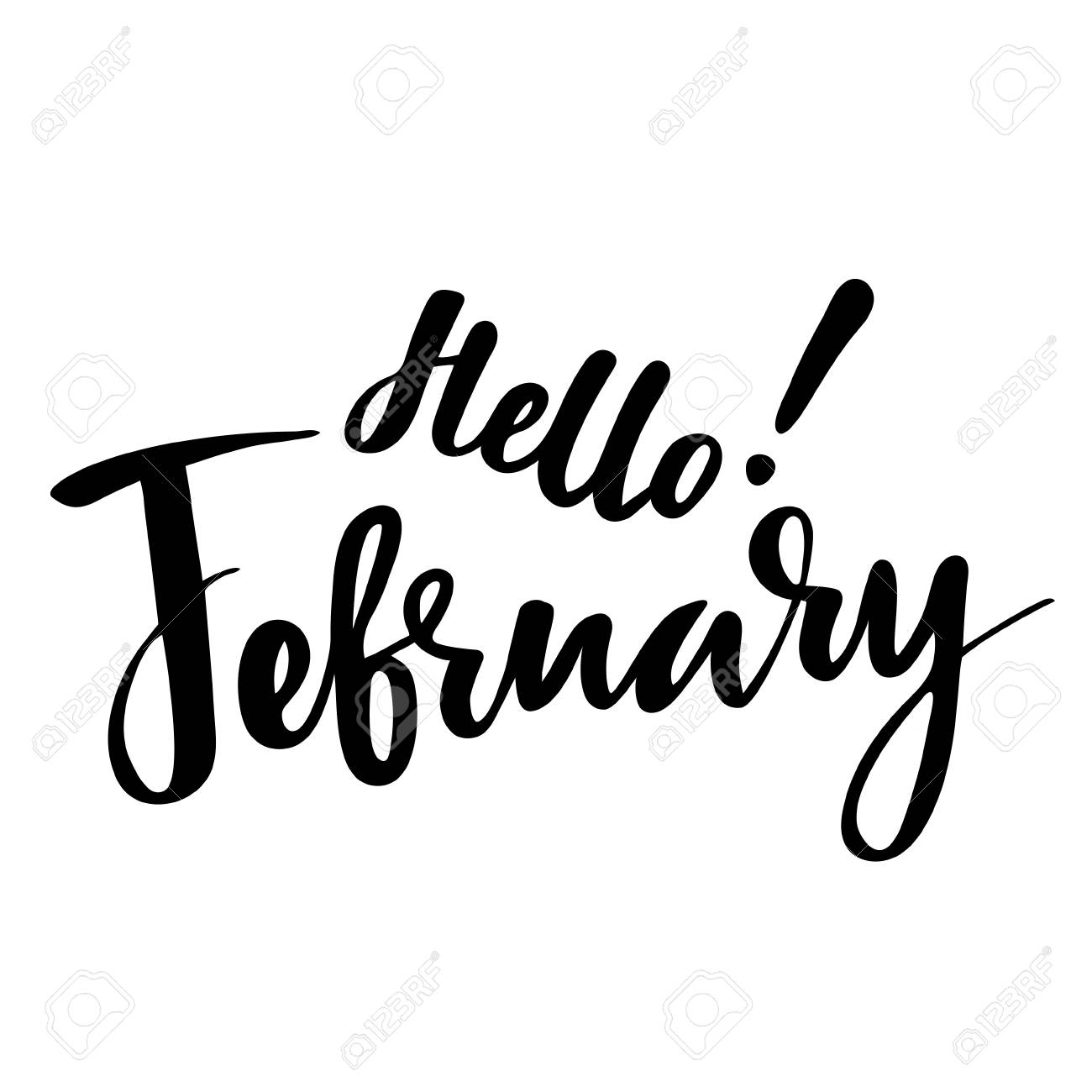Greeting card with phrase Hello February  Vector isolated illustration: