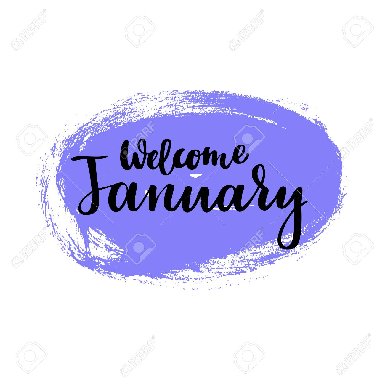 Card With Phrase Welcome January Brush Calligraphy Hand Lettering