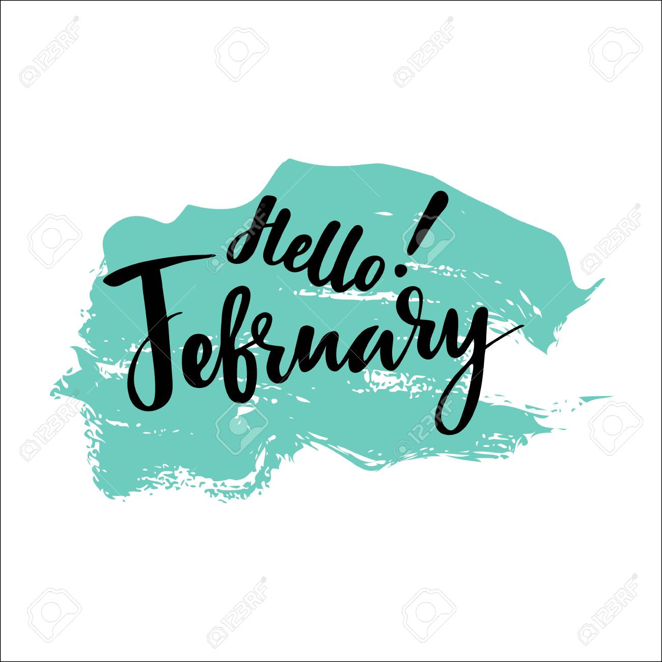 Card with phrase hello February brush calligraphy hand lettering