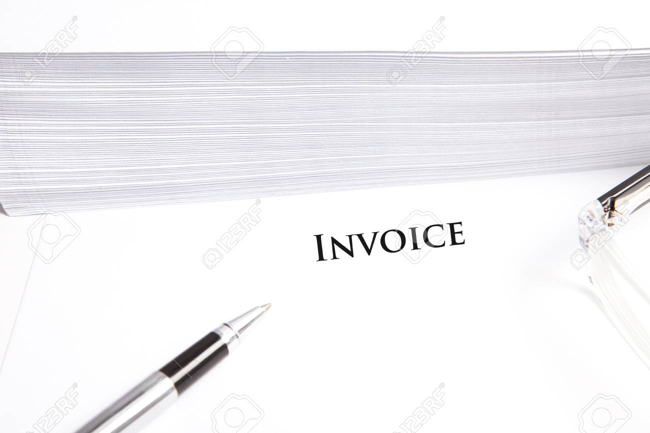 Blank White Document With Invoice Headline Glasses Pen And Stock