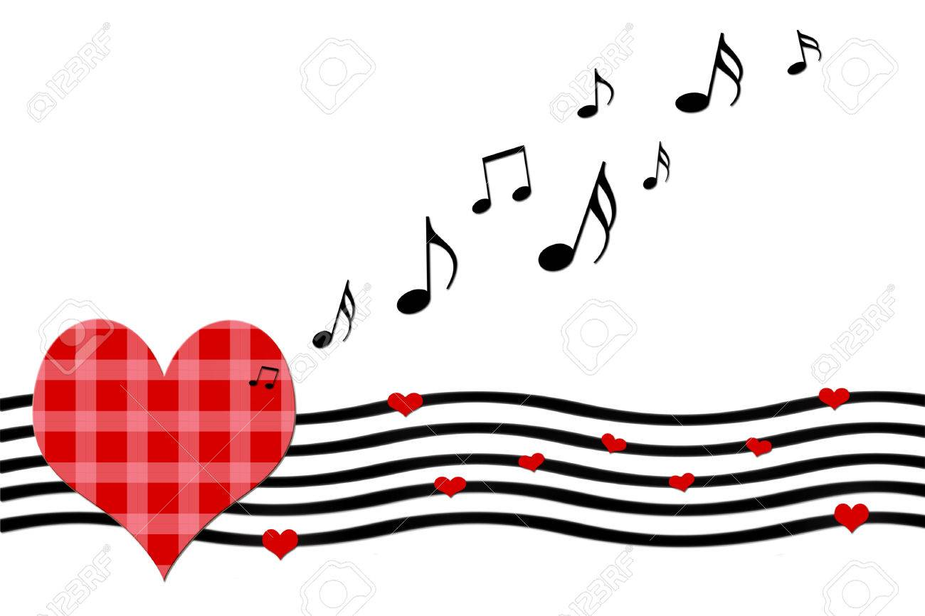 Love song greeting card with sheet music and heart shapes on stock love song greeting card with sheet music and heart shapes on white background stock photo m4hsunfo Images