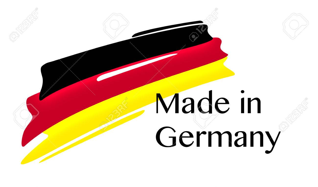 Made in Germany Quality Label with german Flag on white background,