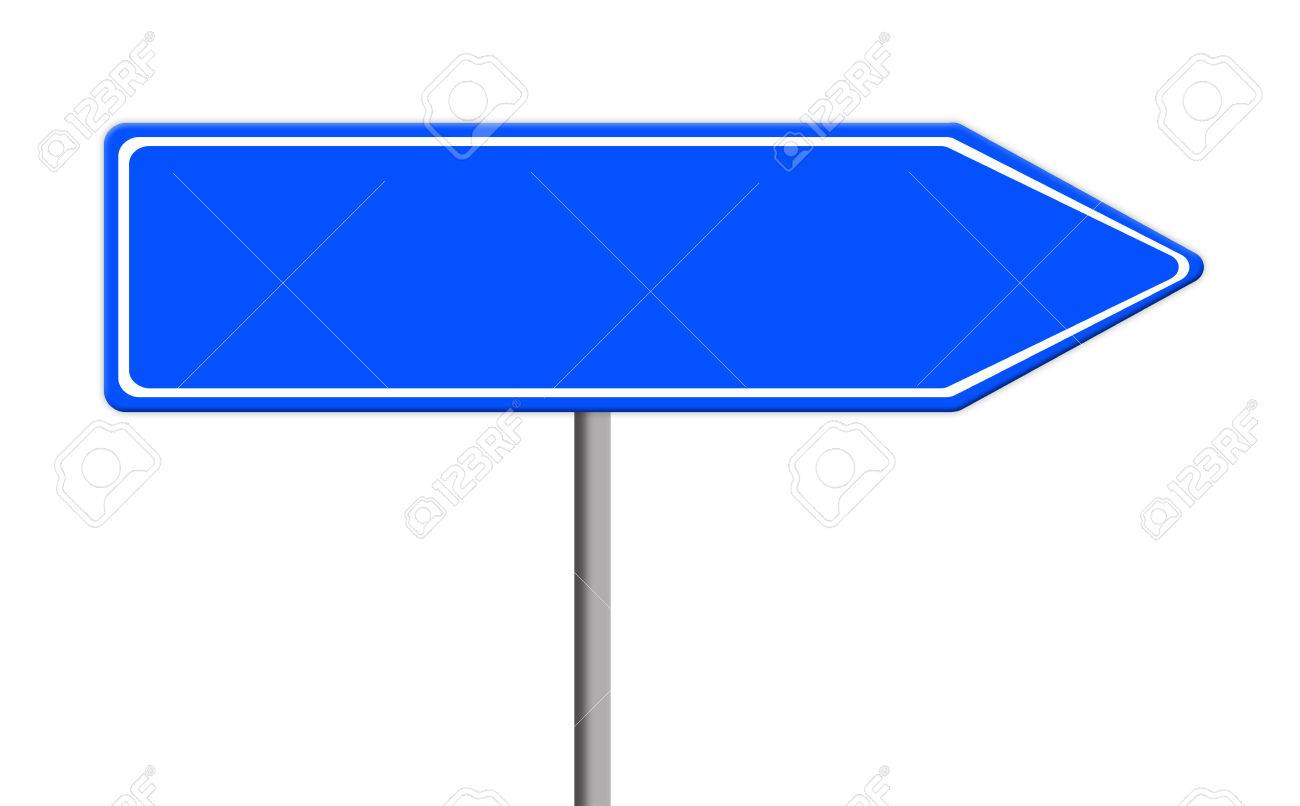 Blue Empty Road Sign Template For Text On Silver Pole, White.. Stock ...