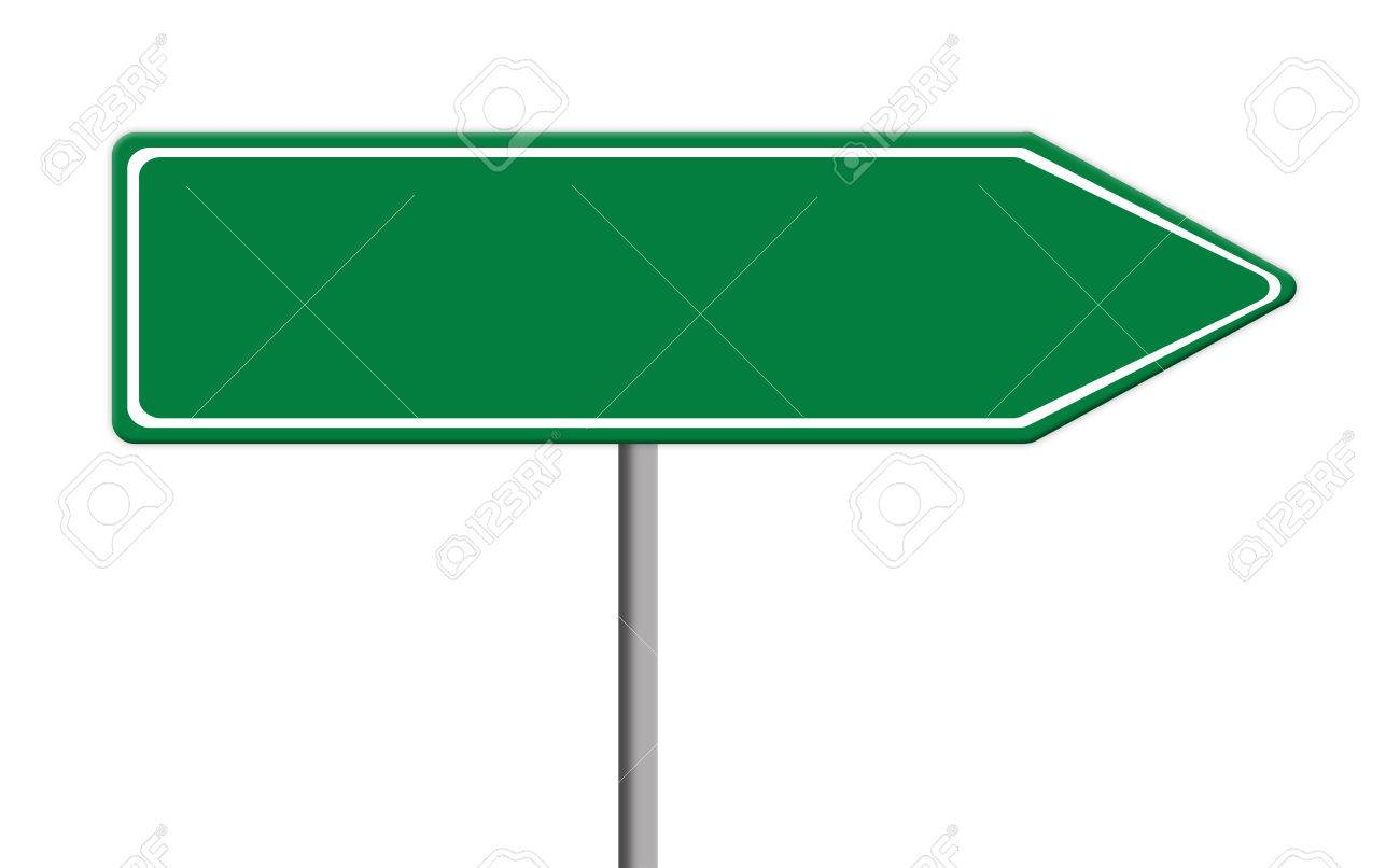 blank green traffic sign template on silver pole white background