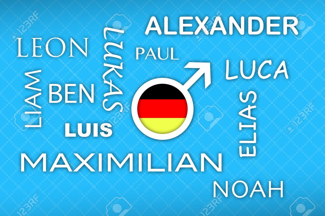 Most Popular German Newborn Boy Names With Flag Button On Blue Background Stock Photo