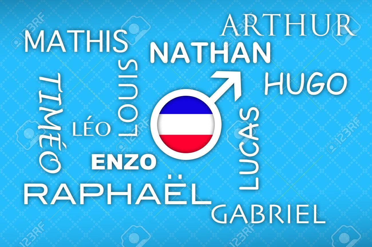Most Popular French Newborn Boy Names With Flag Button On Blue