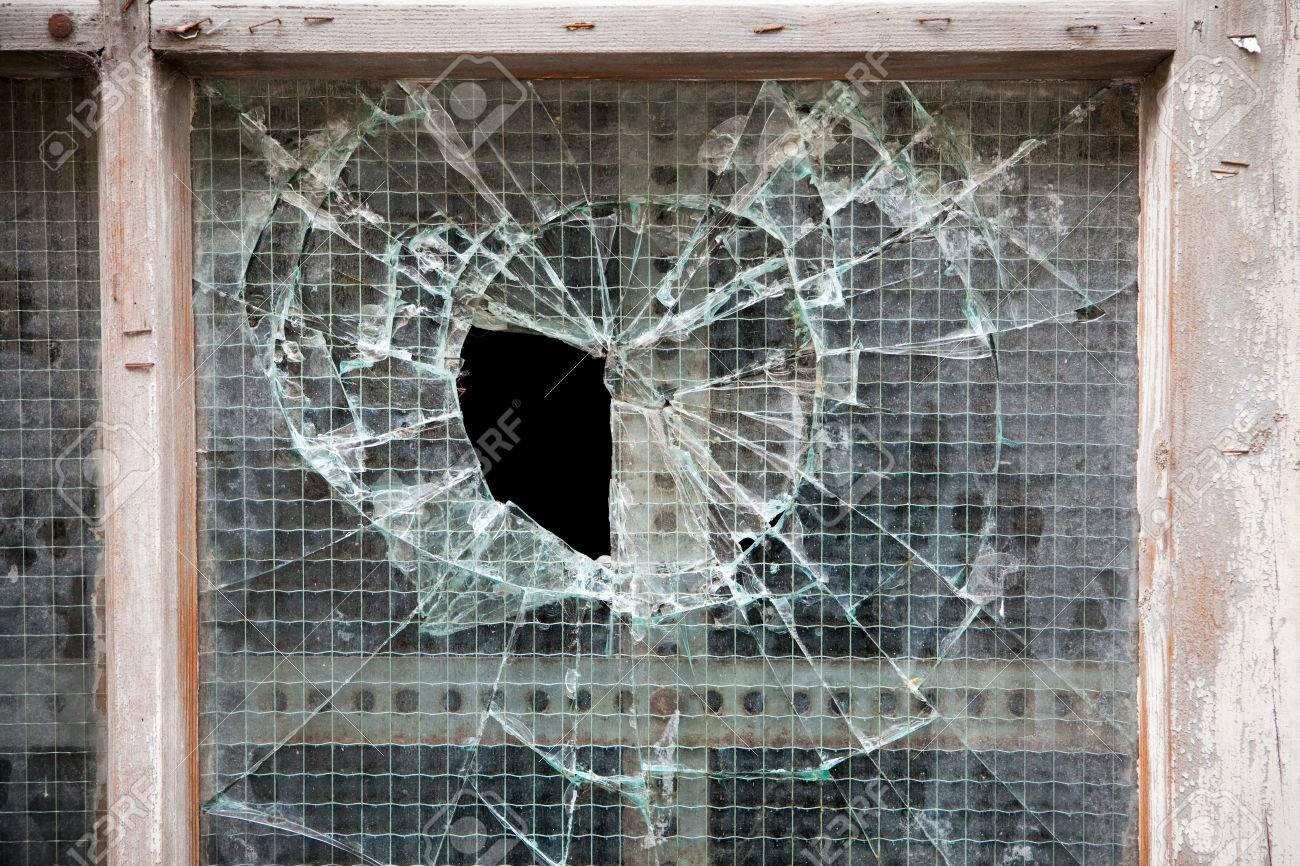 Broken Glass Panel In Old Wooden Door, Background Stock Photo   43526739