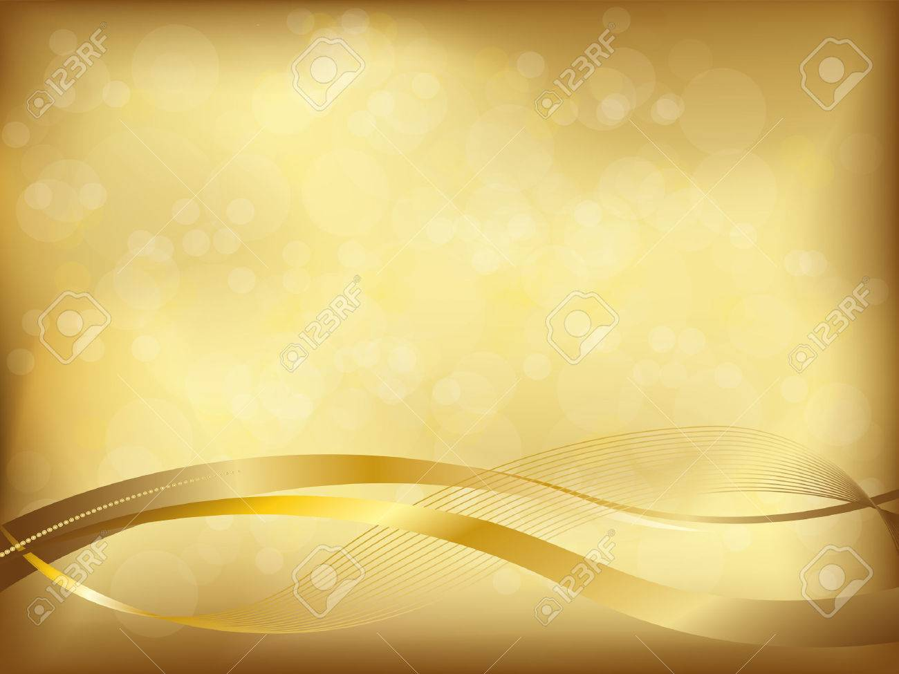 elegant golden background with blur and wavy shapes - 47200961