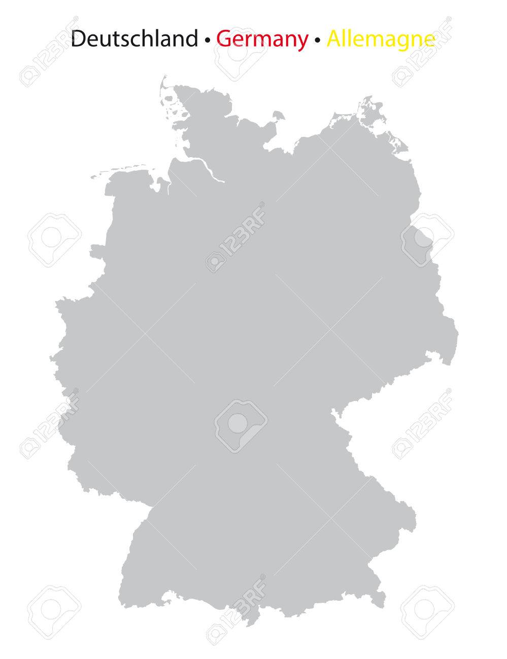 Germany Map High Detailed Grey On White Background Royalty Free