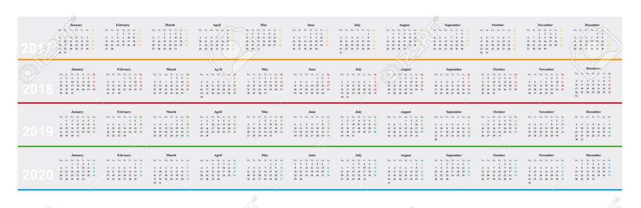 simple design basic calendar of year 2017 20178 2019 2019