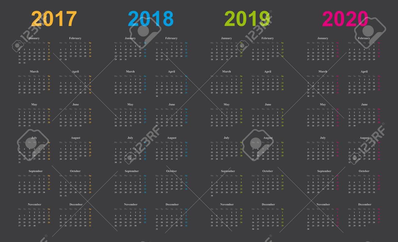 Calendario Rosa 2020.Calendario 2017 2018 2019 2020 Diseno Simple Fondo Gris Anos Marcados Naranja Azul Verde Rosa
