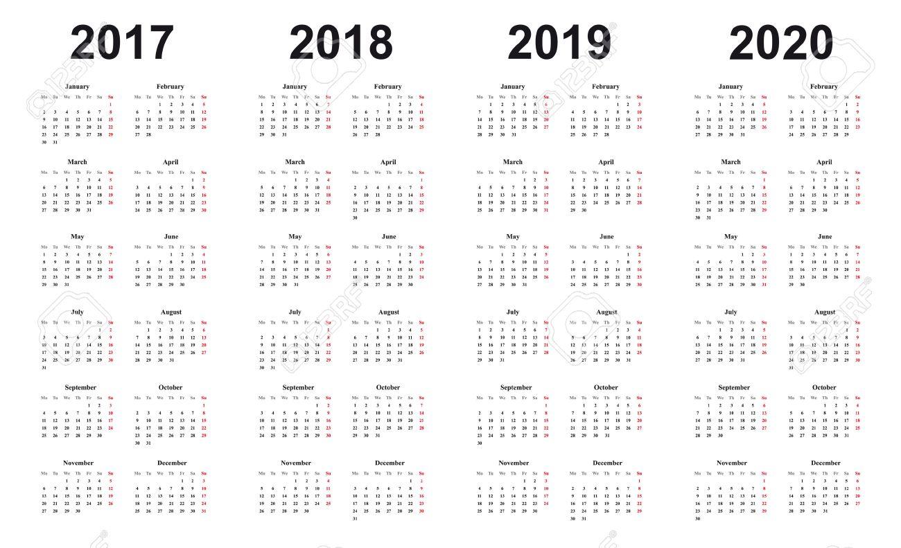 Calendario 2019 2020.Calendar 2017 2018 2019 2020 Simple Design Black Letters