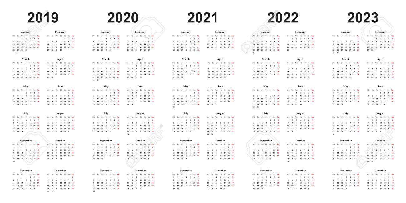 Calendar 2022 2023.Calendar 2019 2020 2021 2022 2023 Black Letters On White Royalty Free Cliparts Vectors And Stock Illustration Image 107956487