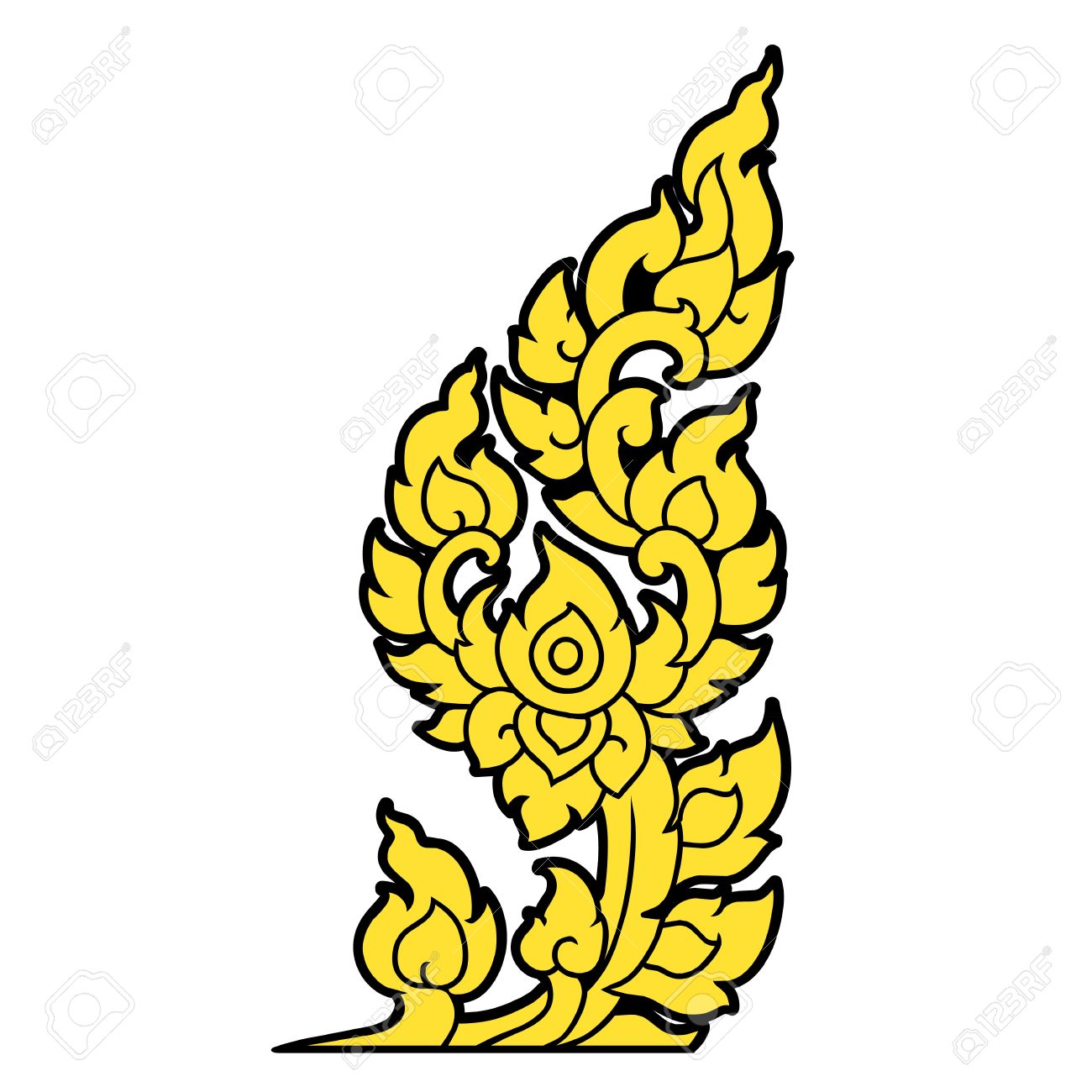 Hand drawn line Thai Art on white background Stock Vector - 19156938