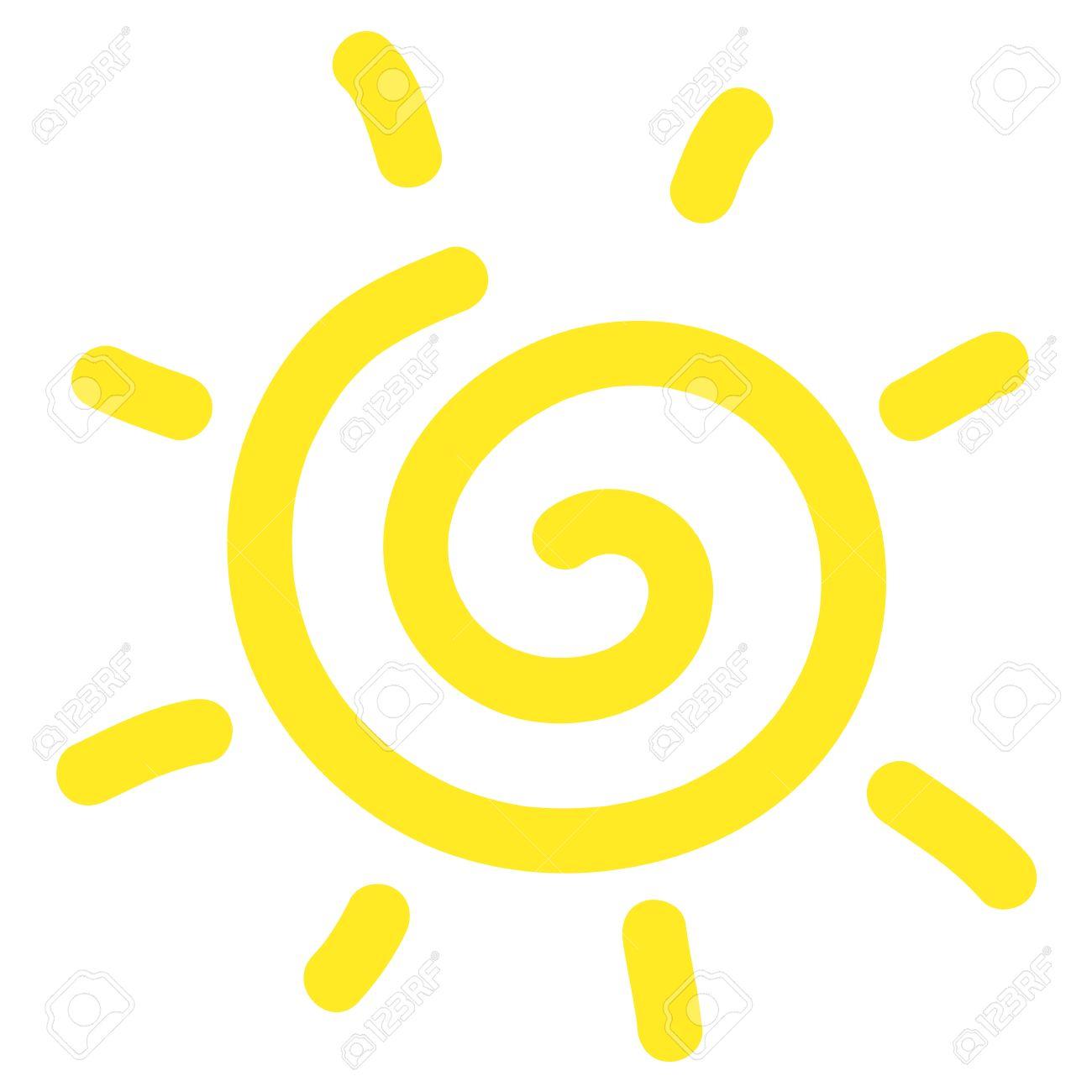 hand drawn spiral sun cartoon on white background royalty free rh 123rf com sunburst swirl vector swirly sun vectors