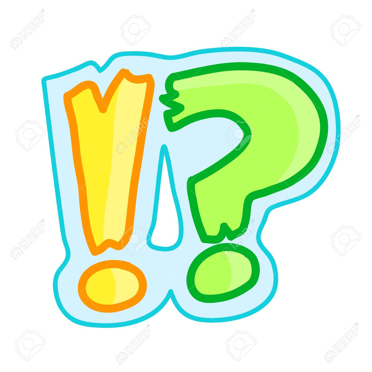 exclamation and question mark cute cartoon royalty free cliparts