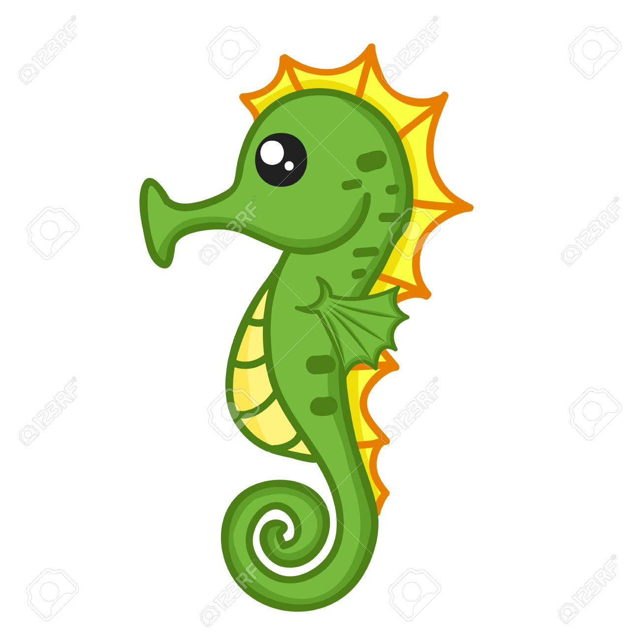 cute seahorse isolated illustration on white background royalty
