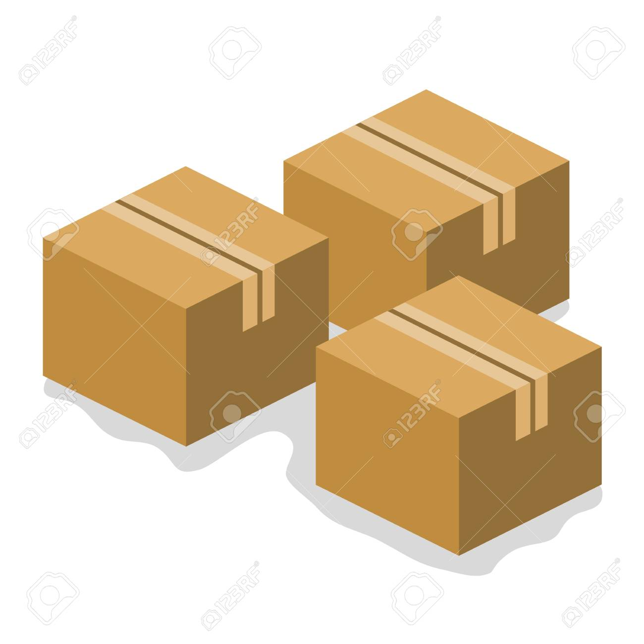cardboard boxes isolated illustration on white background Stock Vector - 24149710