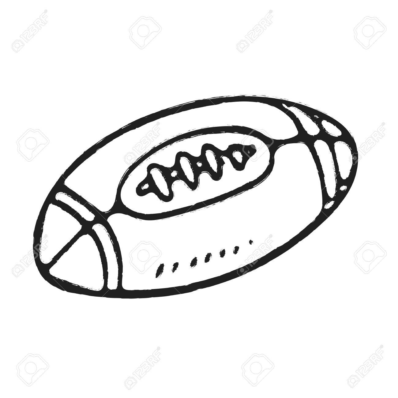 Hand zeichnen rugby ball oder american football isoliert illustration auf weißem hintergrund standard bild