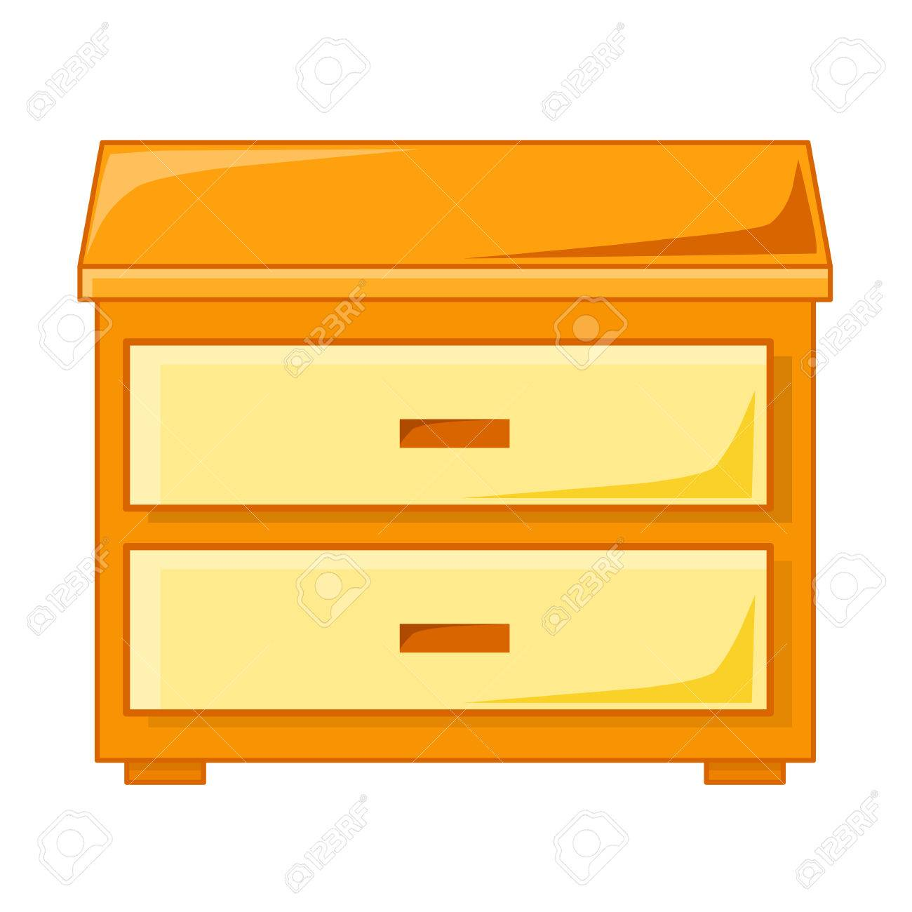 Bedside table clipart  Wooden Bedside Table Isolated Illustration On White Background ...