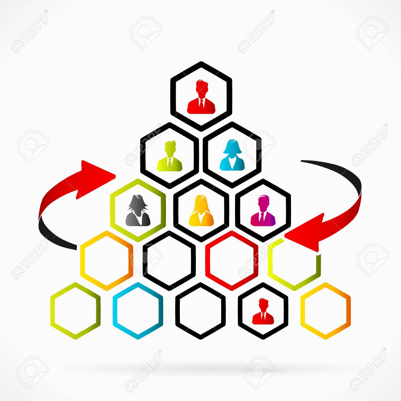 Dysfunctional organizational pyramid with too many decision factors Stock Vector - 24828457