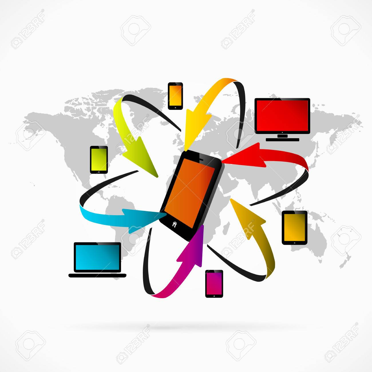 Abstract illustration of mobile phone synchronization Stock Vector - 25429140