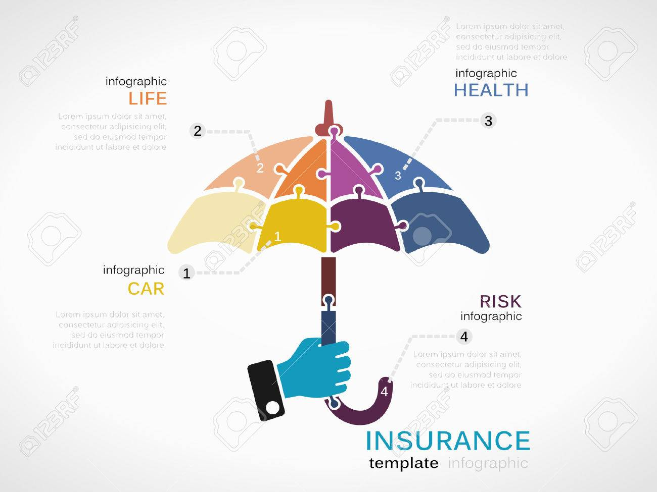 insurance infographic template  Insurance Concept Infographic Template With Umbrella Made Out ...